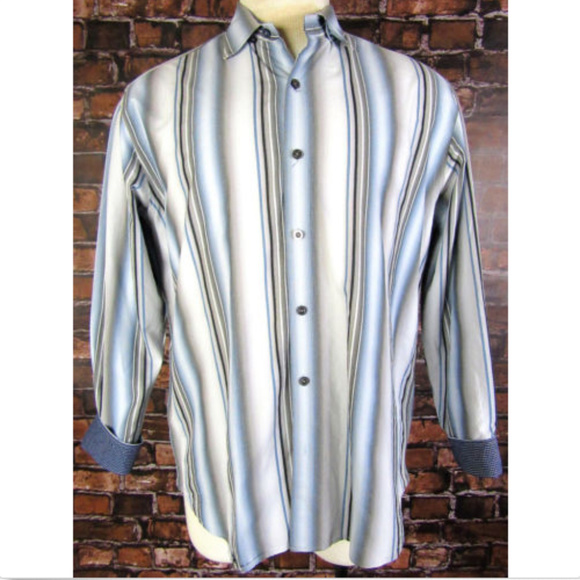 a60e23787 Tommy Bahama Large Blue Gray Striped Shirt B6-11. M_5ae735cd84b5ce842d99522c